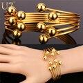 U7 ouro multi layer pulseira na moda banhado a ouro jóias da moda por atacado rodada bead cuff pulseiras para mulheres h658