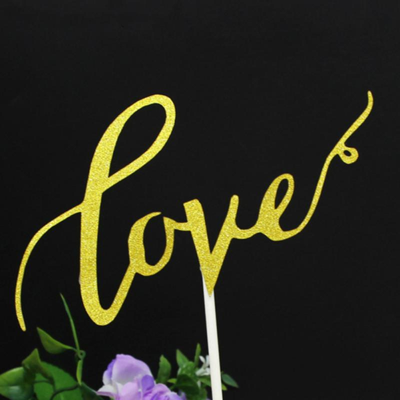 1Pc LOVE Cake Topper Sparkle Glitter Gold Wedding Decoration Engagement Party