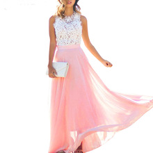 Sexy Sleeveless Long Party Maxi Elegant Dress Crochet Lace Chiffon