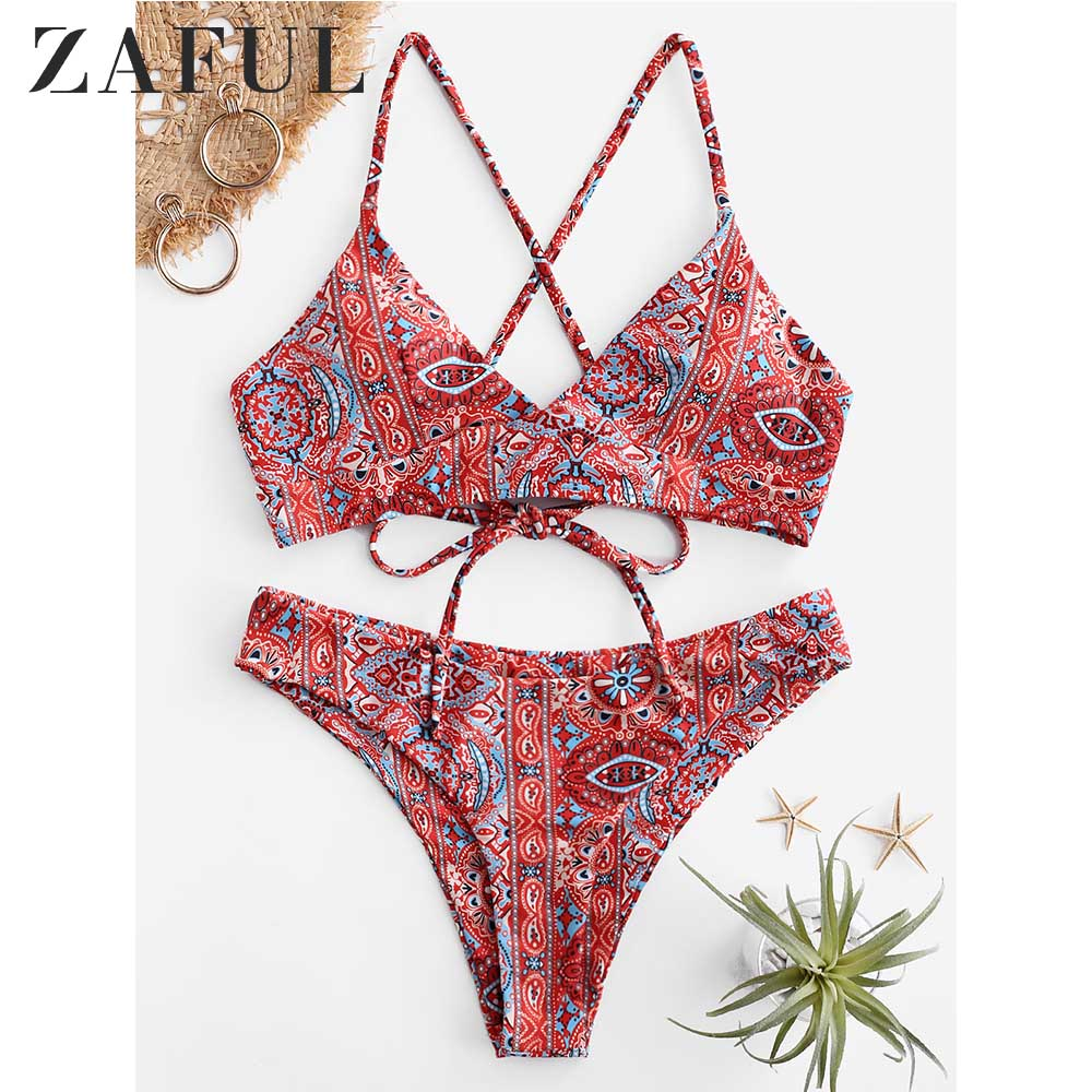 ZAFUL Bohemian Floral Lace Up Cami Bikini Set Padded Flower Holiday Swimsuit Spaghetti Straps Wire Free Beach Bathing Suit