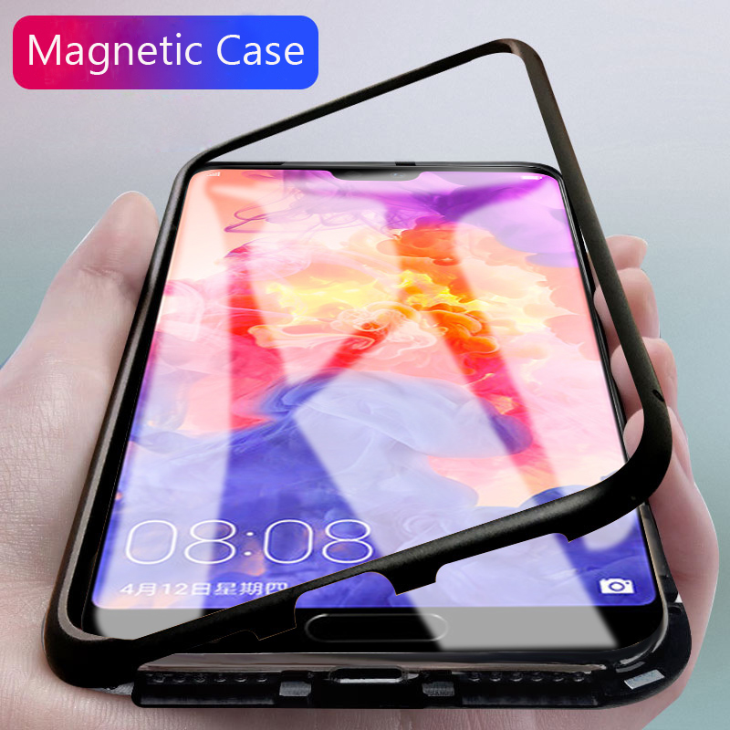 Magnetic Aluminum Metal Case For Huawei P20 Pro Mate10 Pro Honor 10 Toughed Clear Tempered Glass Magnet Adsorption Mate10 Cover