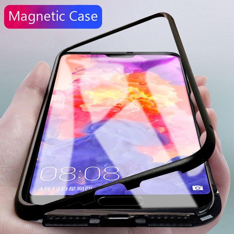 Magnetico di Alluminio della Cassa Del Metallo Per Huawei P20 Pro Mate10 Pro Honor 10 Toughed Temperato Trasparente di Vetro Magnete Adsorbimento Mate10 Copertura