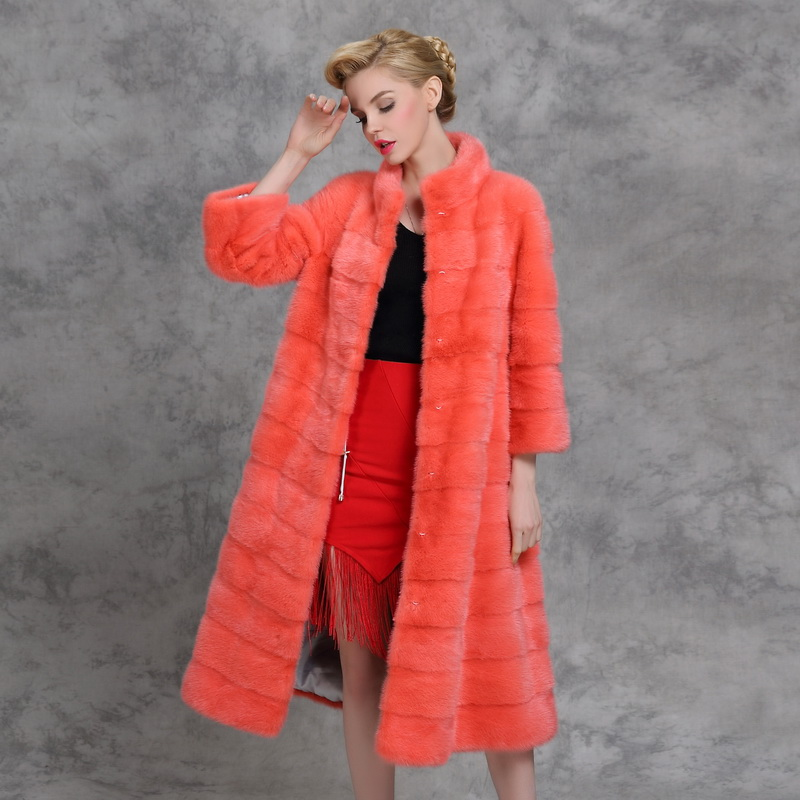 2017 new mink fur coat the sable and long mink coat collar woman ...