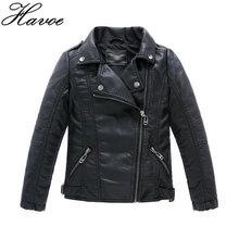 Teenager Baby Boys Leather Jacket Boys Casual Black Solid Children Outerwear Kids Girls Coats Spring Leather Jackets 2017 New(China)