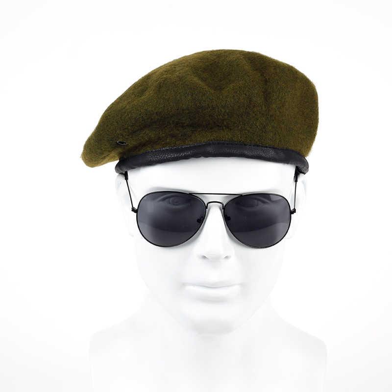 2017 rosyjska moda Unisex wojskowa armia żołnierz kapelusz mężczyźni kobiety 100% wełniany Beret jednolita czapka klasyczna artystka czapka zimowa