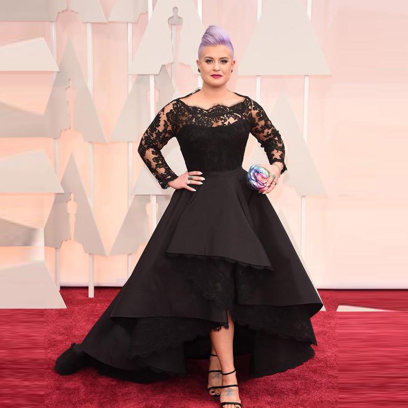 2015-Celebrity-Dress-Long-Sleeved-Lace-Black-High-Low-Red-Carpet-Sheer-Evening-Dresses-Black-Ball1