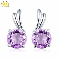 Round 6 0mm Natural Amethyst Solid 925 Sterling Silver Stud Earrings For Women Fine Jewelry Wing