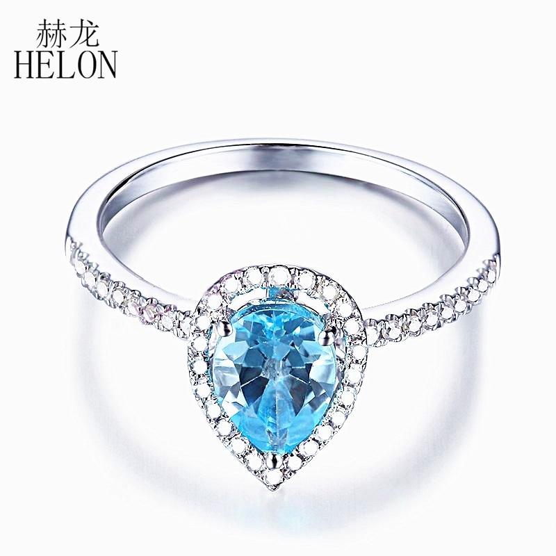 Цельное кольцо из белого золота 14k (585), 7x5 мм, 1 карат, натуральный небесно голубой топаз, настоящие алмазы, драгоценный камень для помолвки, св