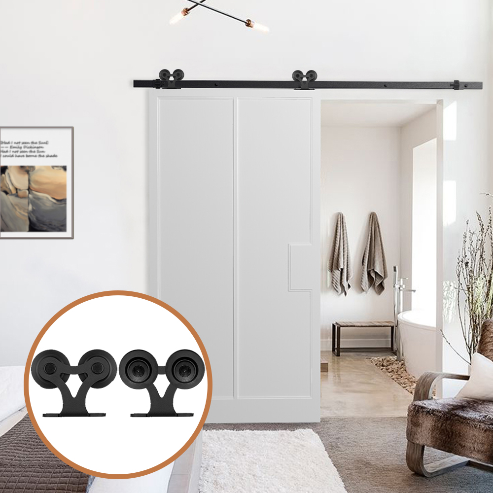 LWZH DIY Carton Steel Sliding Barn Door Hardware Kit Black T- Shaped With Two Rollers For Interior Sliding Single Door