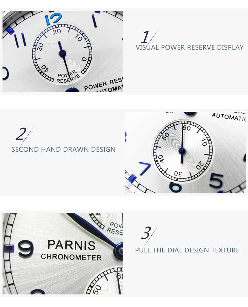 43 мм парнес белый циферблат серебряный запас хода элитный бренд натуральная кожа развертывания застежка автоматический механизм мужские часы p99b