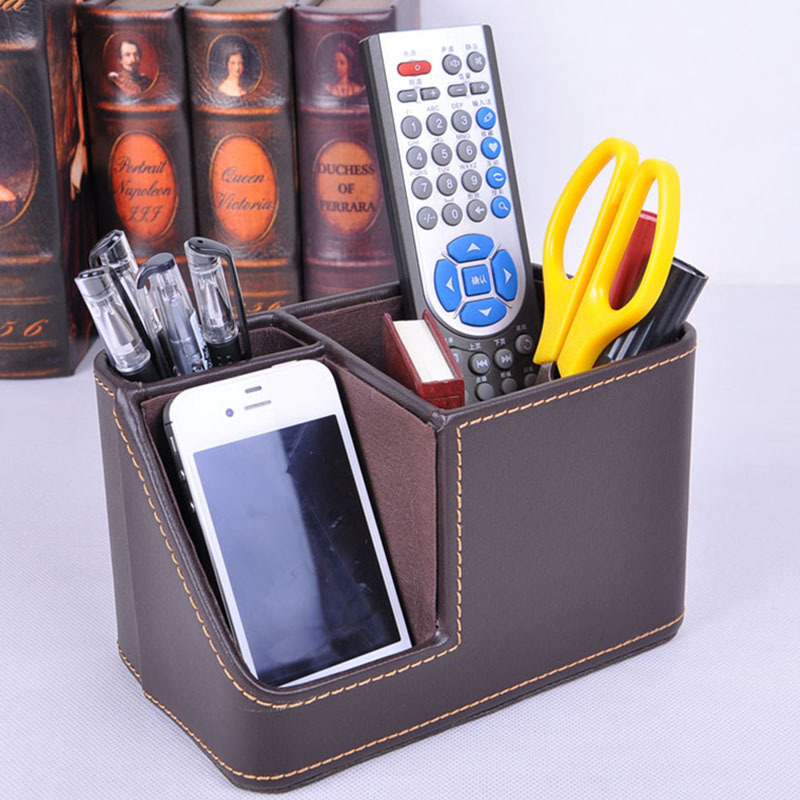 Masaomi Official Brown Leather Office Desktop Storage Box Remote Control Holder Creative Mobile Phone Pen In Boxes Bins From Home