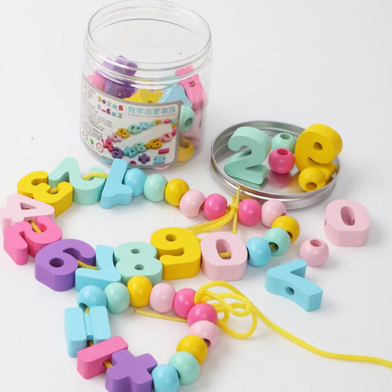 Montessori Learning Education Wooden Beaded Toys For Children Colorful Digital Beads Intelligence Development Toy