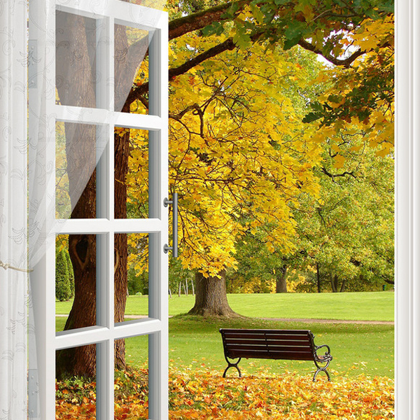 Autumn landscape under a big tree outside the window long for Outside landscape group