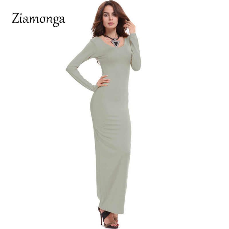 Ziamonga verão casual dress para as mulheres tripulação pescoço tornozelo comprimento da manga longa dress sexy boho solto mudança maxi dress vestidos