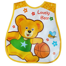 Baby Bibs EVA Plastic Waterproof Lunch Feeding Bibs Baby Cartoon Feeding Cloth Children Apron Baby Accessories Stuff(China)