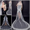 Hot Sale Cheap 2015 In Stock One Layer Applique Edge White Bridal Veils Court Length Wedding Veils Bridal Accessory S1126