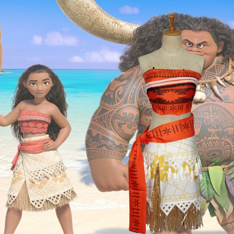 Women Kids Movie Moana Princess Dress Costume Women Skirt Party Dress