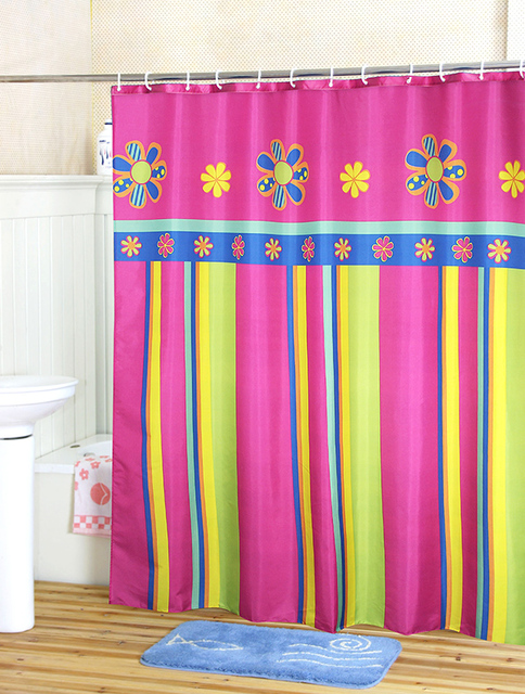 180180cm Colorful Stripe Polyester Waterproof Coating Terylene Cloth Shower Curtain Free Shipping