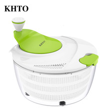 KHTO Double Layer Fruits Vegetables Salad Spinner Dehydrator Dryer Colander Washer Drying Machine Cleaner Faster Food Prep(China)