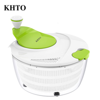 KHTO Double Layer Fruits Vegetables Salad Spinner Dehydrator Dryer Colander Washer Drying Machine Cleaner Faster Food Prep