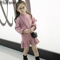 Hurave Autumn And Winter Princess Dress Children S Winter Sweater Dress Children S Dress Sweet Girl