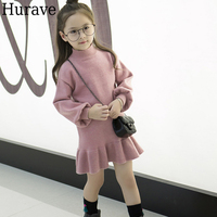 Hurave Autumn And Winter Princess Dress Children S Winter Sweater Dress Children S Dress Sweet Girl