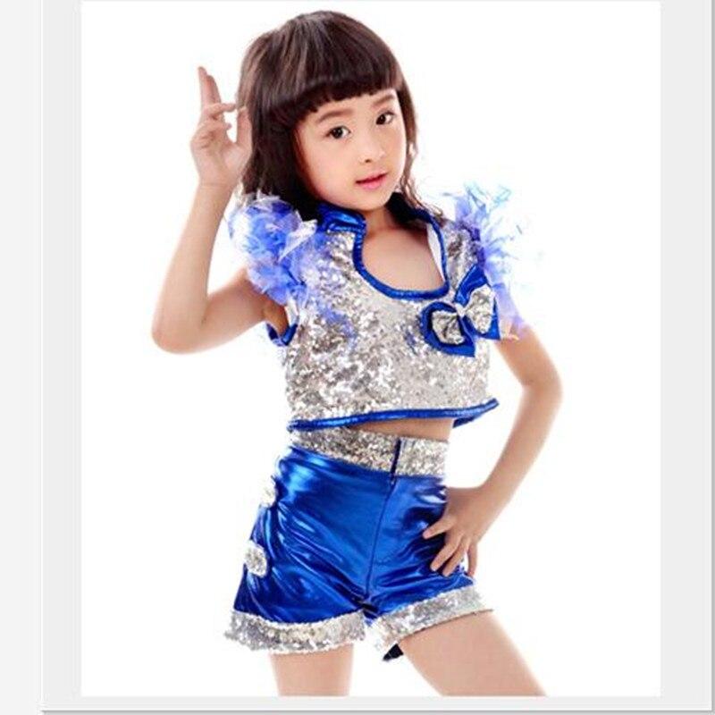 Fashion Children Jazz Dance Costumes Lace Petal Sleeve Girls Lala Gym Performance Wear Paillette Bowknot Kids Hip-hop Dance Suit