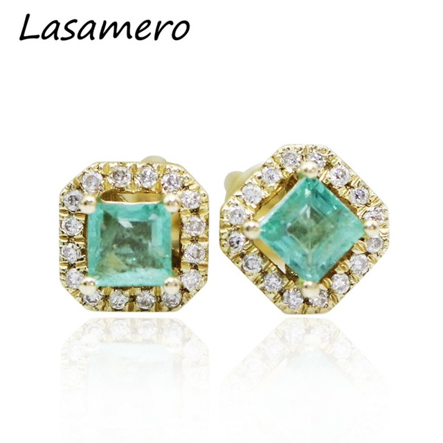 Lasamero 0 42ctw Natural Square Cut Emerald Gemstone 14k Yellow Gold Earring Studs Flower Style Stud
