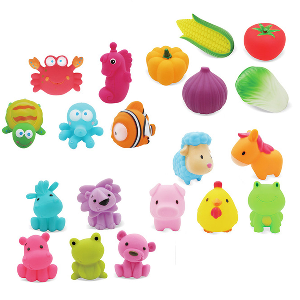 Bath Toys Mixed Animals Fruits Vegetables Colorful Soft Rubber Float Squeeze Sound Squeaky Bathing Toy Swimming Toy For BabyBath Toys Mixed Animals Fruits Vegetables Colorful Soft Rubber Float Squeeze Sound Squeaky Bathing Toy Swimming Toy For Baby