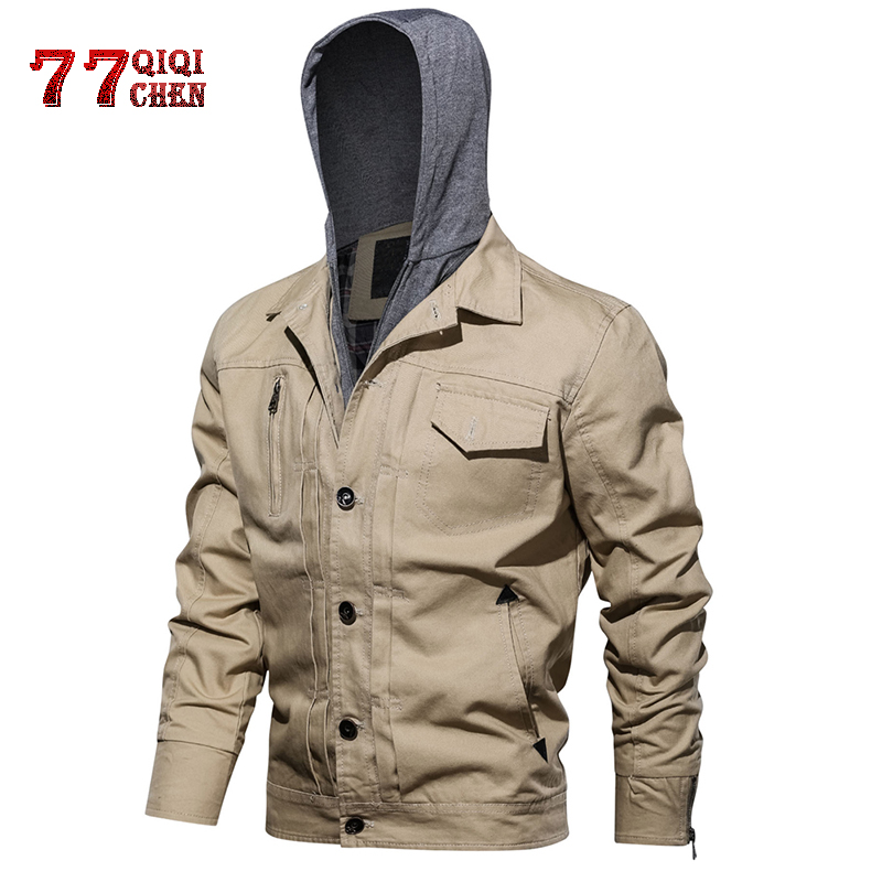 Military Men Winter Cotton Jacket Coat Army Mens Pilot Jacket Autumn Jacket,Khaki,M,China