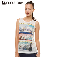 GLO STORY Brand T Shirt Women 2016 Summer Women T Shirt Plus Size Appliques Tee Women