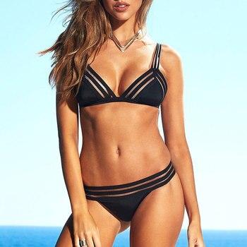 Women Sexy Push Up Bikini Two Pieces Suit Female Swimsuit Lowcut Beachwear Strappy Swimwear Thong Brazilian Bikini Bathing Set