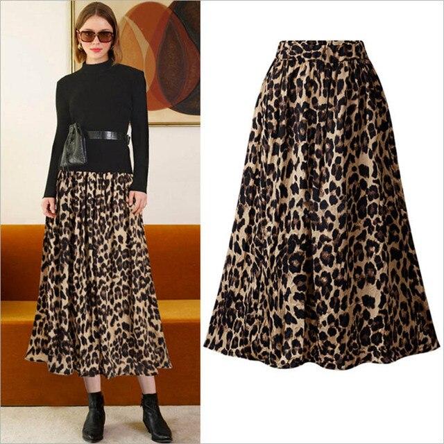 fe984b48cb Bella filosofía invierno estampado de leopardo de las mujeres Falda plisada  vestido damas de faldas