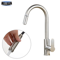 New Brushed Pull Out Kitchen Faucet Round Stainless Steel Sink Mixer Kitchen Tap Single Handle Surface