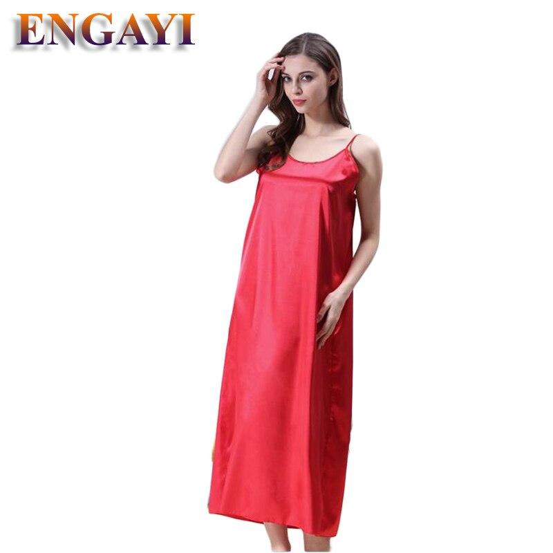 Plus Size XXXL 5 Colors Women Long Nightwear Faux Silk Satin Night Dress Girls Sleepwear Nightgown Nightdress Night Down B276 5