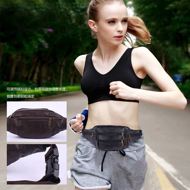 Outdoor Sports Vintage Men Women Fanny Waist Bag Phone Money  Banana Wallet Cow Genuine Leather Waterproof Moto Black Chest Bag