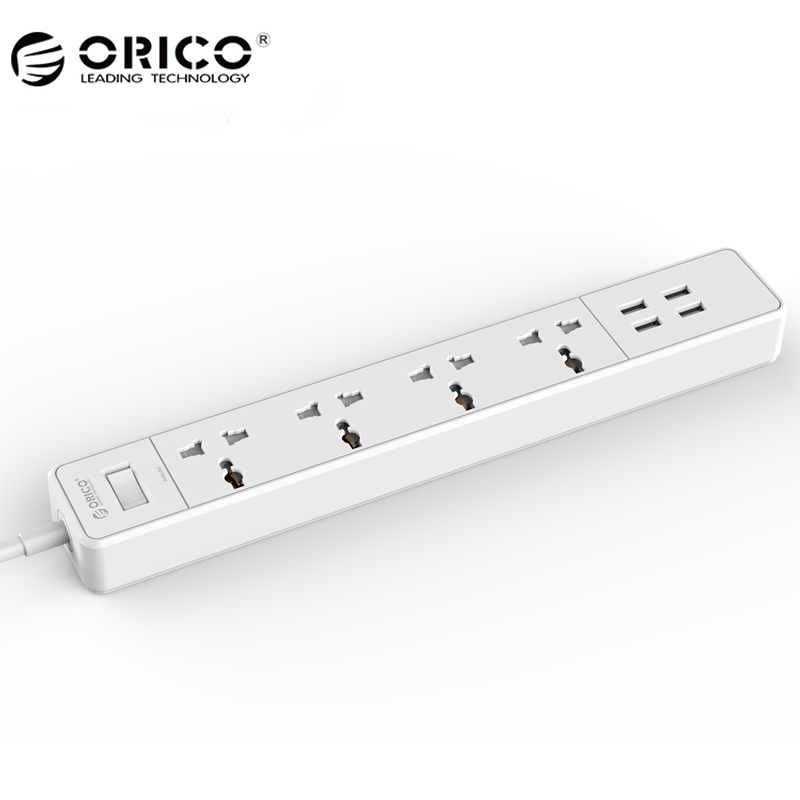 где купить ORICO OSC-4A4U Home Office EU US Surge Protector With 4 USB Charger 4 Universal AC Plug Multi-Outlet Travel Power Strips -White по лучшей цене