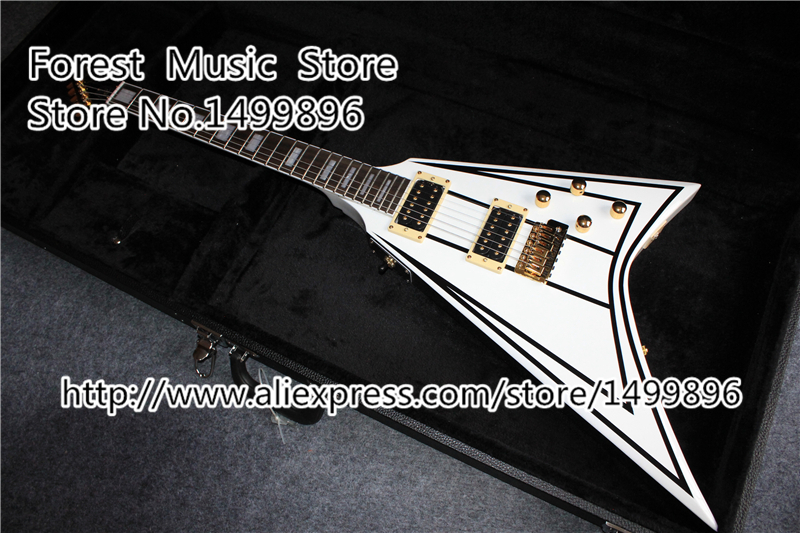 China Custom Shop Jacks Flying V Electric Guitar With Square Hard Case Free Shipping