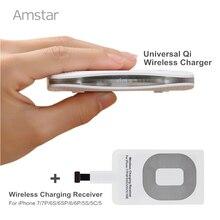 Amstar Qi Sans Fil Chargeur Universel Sans Fil de charge Pad + Récepteur Pad Bobine pour iphone 7 7 Plus 6 6 s Plus 5 5S 5c Charge Kit
