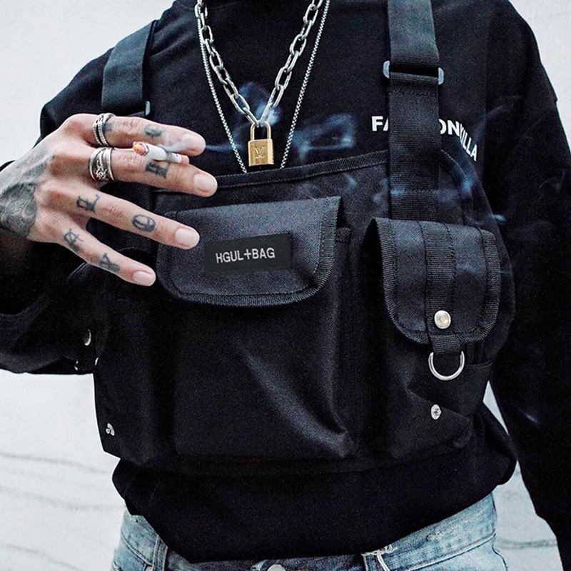 Man And Woman Waist Bag Fashion Oxford Cloth Chest Rig Bags Hip Hop Pack Functional Tactical Chest Bag Adjustable Waist Pack