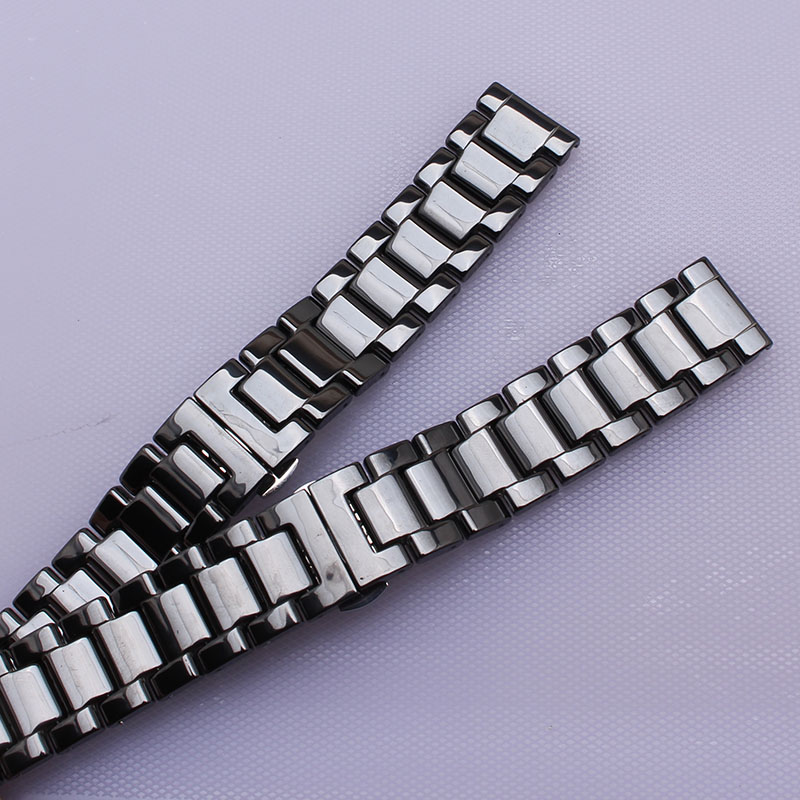 Ceramic watch strap bracelet watchband 14mm 16mm 18mm 20mm 22mm wristwatches band black Butterfly buckle watch