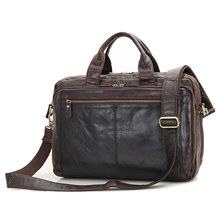 JMD Vintage Leather Handbag Briefcase For Lawyer Laptop Bag Top Handle Business Bag 7230Q