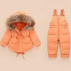 2019 conjuntos de ropa para niños de invierno mono chaquetas de nieve + pantalón de babero 2 uds conjunto de abrigos de plumón de pato para bebés y niñas traje de nieve de piel para niños