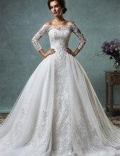 Hot Sale Three Quarter Sleeves Bridal Gown vestido de noiva renda Luxury Wedding Dress 2017 Custom Made Remove Skirt AY82