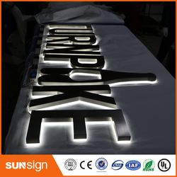 Brushed stainless steel backlit letters