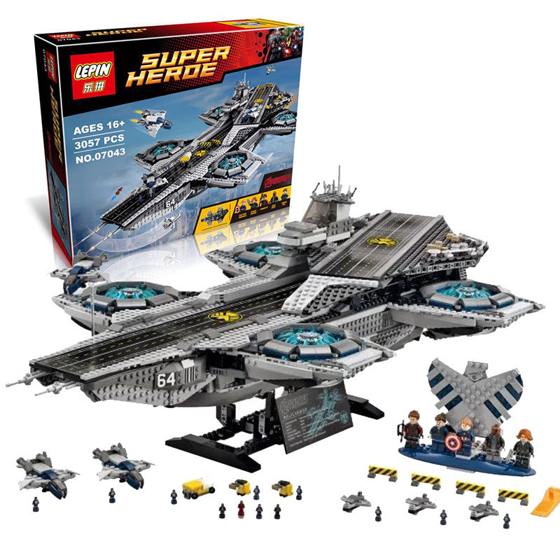 font b LEPIN b font 07043 Super Heroes Minifigure 3057PCS The SHIELD Helicarrier Model Toys