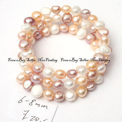6-8mm white pink purple mixed-color freshwater natural pearl linking bracelet