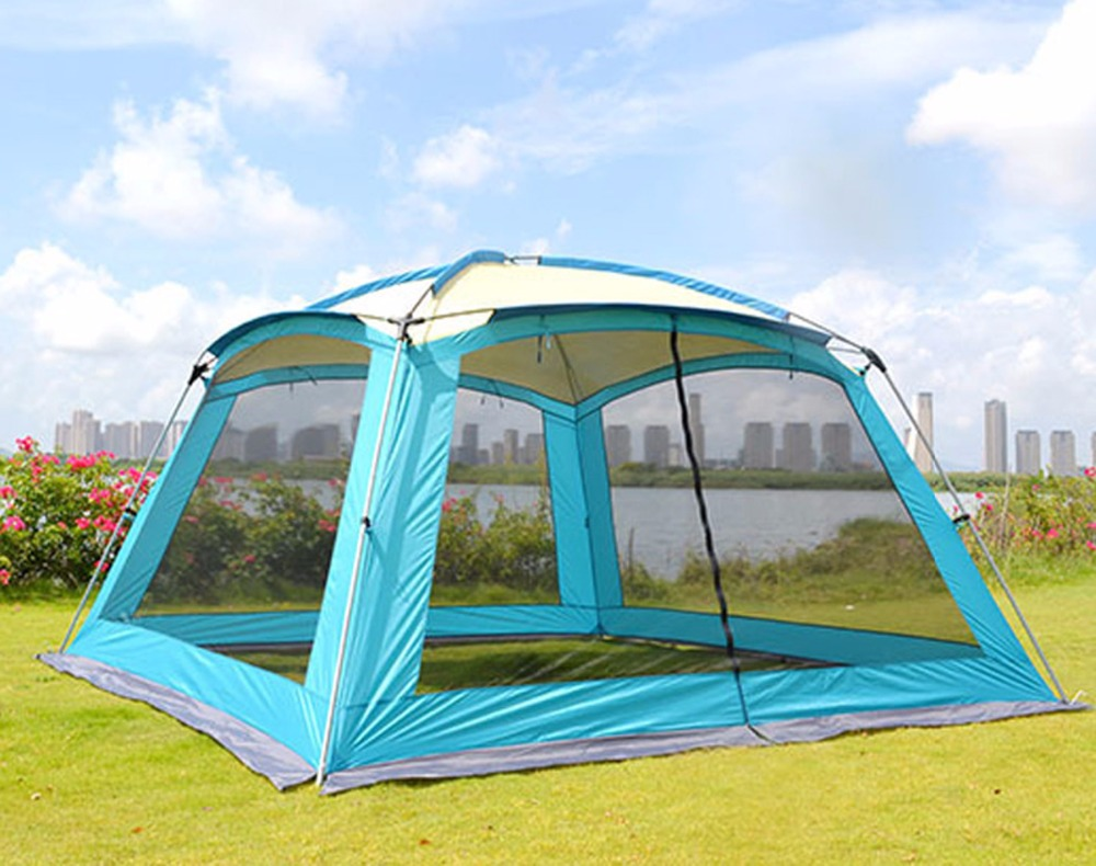Ultralarge 5 8 person use 365*365*220CM sun shelter large gazebo camping party family garden tent barbecue awning