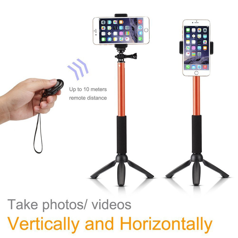 Bluetooth Selfie Stick GoPro Monopod with Tripod Stand for iPhone and Android (Orange) (2)