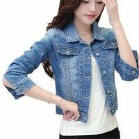 Nice Lente Herfst Vrouwen Jeans Jacket Casacos Feminino Slanke Lange Mouwen Denim Jacket Verzwakte Jeans Jas Vrouwen Uitloper